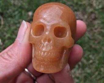 Red Aventurine Realistic Carved Skull - Free Shipping - Red Adventurine Skull