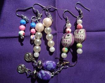 4 Pairs of Handmade Fish Hook Style Bead Earrings