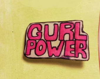GURL POWER Brooch Pin