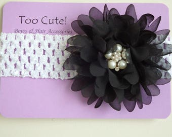 Black and White Floral Headband with Pearl and Rhinestone Embellishment