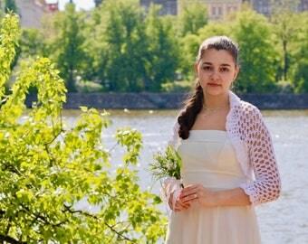 Crochet wedding bridal bolero MARINA, wedding shawl, bridal shrug