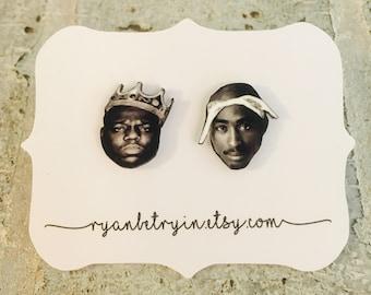 Biggie and Tupac Earrings - Stud Earrings - Celebrity Earrings - 2pac Studs - Biggie Studs - Hip Hop Fashion - 90s Jewelry - 90s