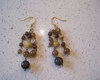 Brown Glass Drop Earrings