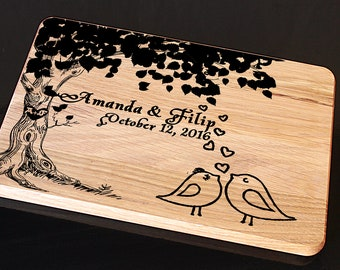 Personalized Cutting Board, Wedding Gift Cutting Board, Wedding gift for couple, Christmas Gifts Cutting Board, Custom Wedding Gift, tree