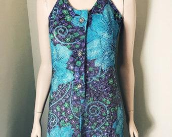 70s Desiree Glittery Floral Maxi Halterneck Dress Size 10