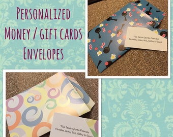 Personalized envelopes for money or gift cards