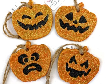 Pumpkin Salt Dough Ornaments - glittered!