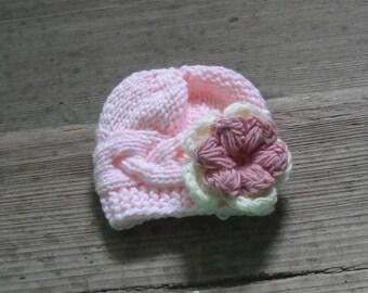 Newborn photo prop, newborn hat, newborn girl , Girl Outfit , Photo Prop , pink hat with flower , Infant Hat ,Toddler Hat , newborn knit hat