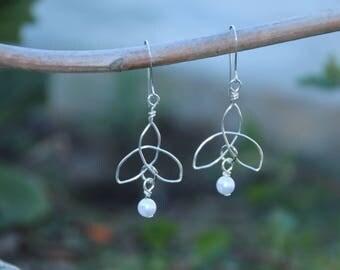 Silver Celtic Knot Earrings, Silver Drop Earrings, Pearl Drop Earrings, Drop Earrings