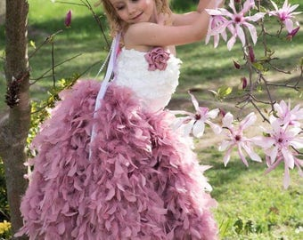 Flower girl dress/mauve flower girl dress/Ivory Dress/Tutu dress/Pageant dress/cinderella dress/Ivory flower dress/vintage flower girl dress