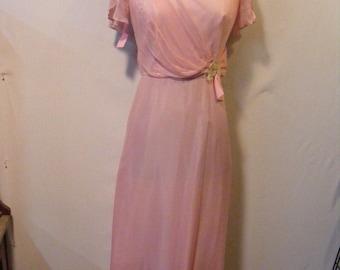 Woman's 60s Chiffon Formal Dress Size Small