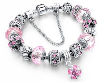 Charm bracelets silver plated, pink Austrian crystal beads on snake chain