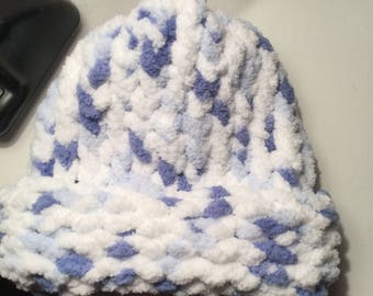 Blue and White Multi Colored Baby Hat