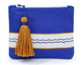 Greek blue Dual Loom Leather Clutch
