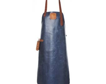 Leather Apron | BBQ Apron | Kitchen Apron | Navy/Cognac