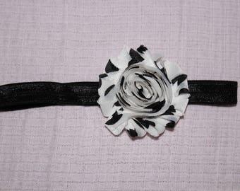Black and White Polka Dot Flower Headband for Baby Girl