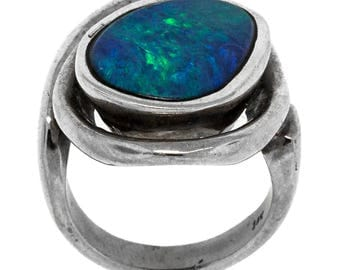 Artisan Black Opal Gold Ring