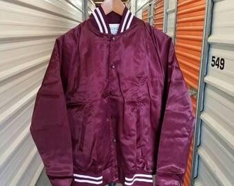 Vintage 80's Burgundy Satin Jacket By Health Club. Men's Size Large.