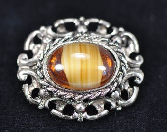 Vintage Tigers Eye or Glass Silver Brooch c.1940's