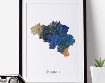 Belgium Print, Belgium Map, Belgium, Office Decor, City Map Prints, Map Art