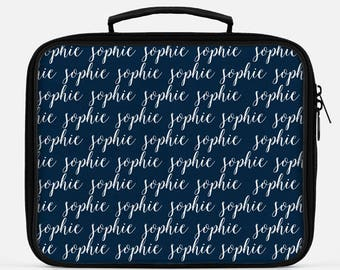 Navy Blue Lunch Box, Monogram Lunch Bag, Custom Name Lunch, Lunch Box for Boys, Cute Lunch Box, Lunch Box for Kids, Gender Neutral Lunch Box