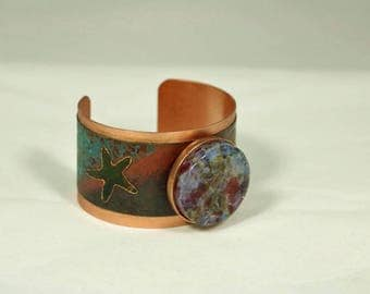 Copper Cuff Bracelet with Starfish Motif and Green & Pale Blue Fused Glass Jewel