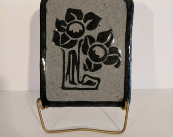 Daisy in Bloom Handmade Ceramic Wall Hanging Art Nouveau Abstract