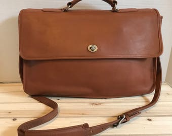Genuine Leather British Tan Briefcase Bag // Messenger Bag // Work Bag