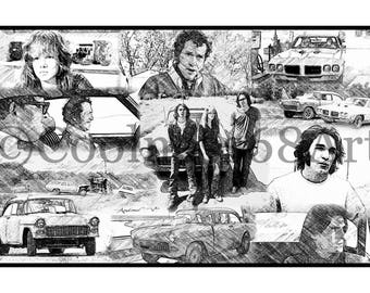 Two-Lane Blacktop Collage Original Art Print