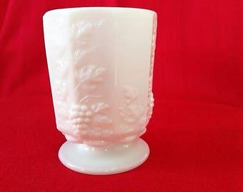 Vintage Milk Glass Sugar Bowl Grape and Leaf Design