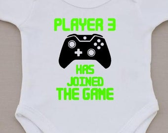 player 3 has joined the game,funny baby vest,boys