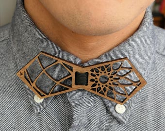 Geometric Laser Cut Wooden Bow Tie