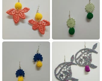 Lace and crochet earrings or beads