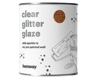 Hemway 1L Clear Glitter Paint Glaze for Pre-Painted Walls  - Copper