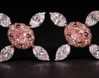 18K White Gold Pink Diamond Earrings 0.60ct E1683491