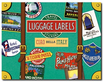Travel Stickers - Italy - Luggage Labels - all over the country - 20 in Color - Decorative Box - Laughing Elephant