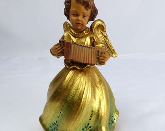 ANRI Music Box Hand Carved Wood Reuge Gold Angel Playing Music Box Ave Maria