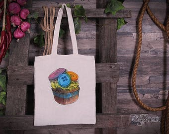 """Ecobag  (Tote bag) """"Muffin with buttons""""."""