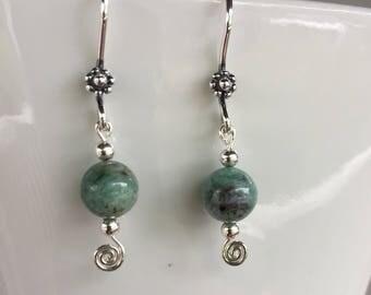 African jade and sterling silver earrings