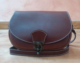 satchel leather semi-rigid stitched hand