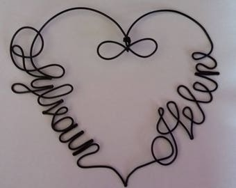 aluminum wire - heart wall hanging
