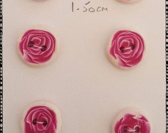 Lovely Rose Buttons, White with Pink and white Rose pattern. 1.5cm in size.