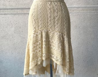 Vintage Lace Fishtail Mid-Length Skirt
