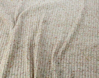 Knit Ribbed Fabric, Off White with Specs of Green, Yellow and Red, Vintage Fabric #1032