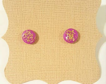 Handmade glitter polymer clay stud earrings