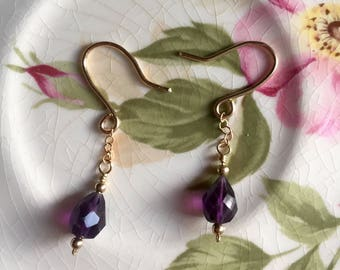 Faceted Amethyst Drop Earrings