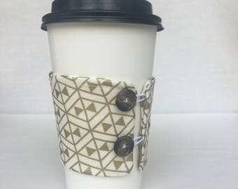 Reusable Coffee Sleeve - Gold Triangles