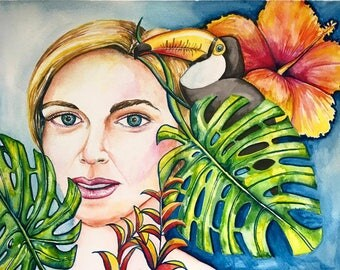 Island Dreaming, watercolor, fine art print