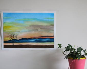 Hudson River Sunset - Original Watercolor Painting - available in Printed and Original