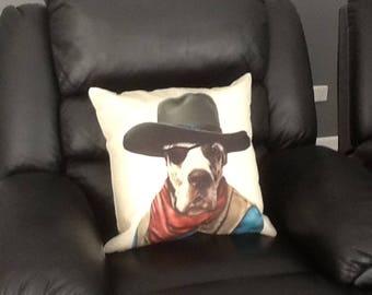 John Wayne Dog Face Cushion, Funny Pillow, dog Cushion, dog Pillow